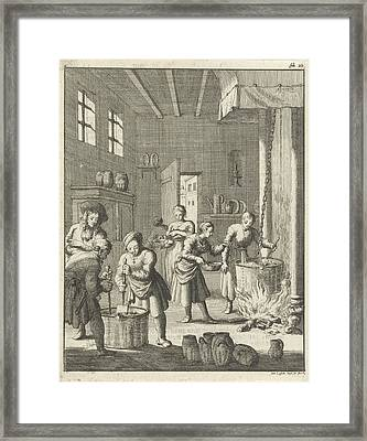 Manufacture Of Sorbet In A Kitchen At Rosette Framed Print by Jan Luyken
