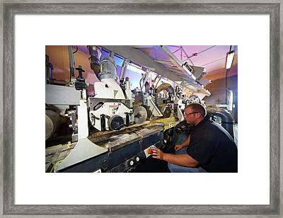 Manufacturing Of Timber Decking Planks In Framed Print by Mark Sykes