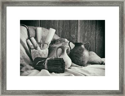 Manuscripts Still Life II Framed Print