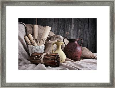 Manuscripts Still Life Framed Print
