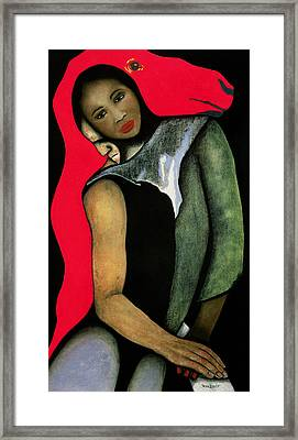 Manwoman And A Red Horse Framed Print by Stevie Taylor