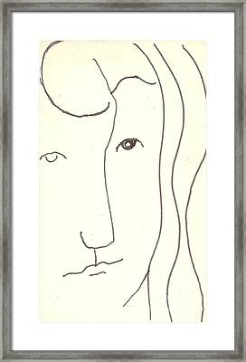 Framed Print featuring the drawing Manwoman by Rod Ismay