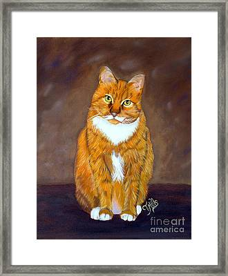 Framed Print featuring the painting Manx Cat by Terri Mills