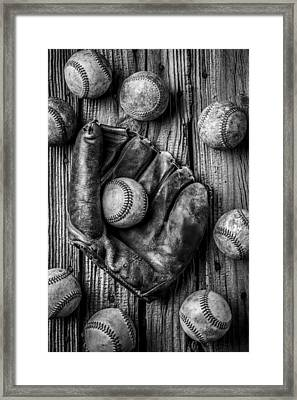 Many Baseballs In Black And White Framed Print by Garry Gay
