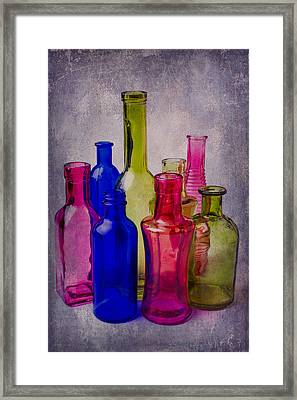 Many Colorful Bottles Framed Print