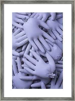 Many Gray Hands Framed Print