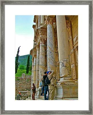 Many Photographers At Library Of Celsus-ephesus Framed Print