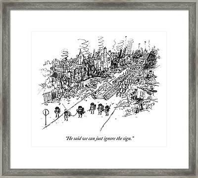 Many Soldiers And A Tank Marching Along A Road Framed Print by Edward Steed