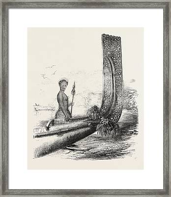 Maori Chief, And Carved Stern Of A New Zealand Canoe Framed Print