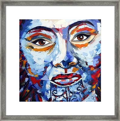 Maori Girl By Lisa Elley. Palette Knife Painting In Oil Framed Print