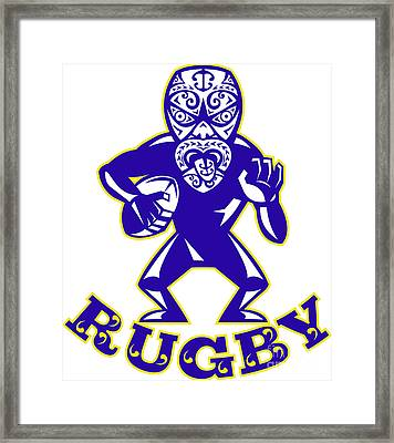 Maori Mask Rugby Player Running With Ball Fending Framed Print by Aloysius Patrimonio