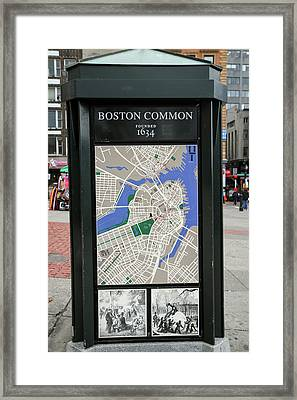 Map And Historical Drawings On A Kiosk Framed Print by Susan Pease