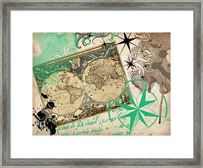 Map Collage Framed Print by Cindy Edwards
