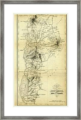 Map Countries South Of Damascus And East Of Jordan Framed Print