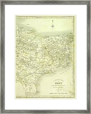 Map, County Of Kent, 1839 Framed Print by Litz Collection
