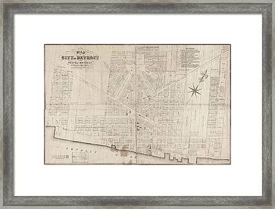 Framed Print featuring the painting Map Detroit, 1835 by Granger