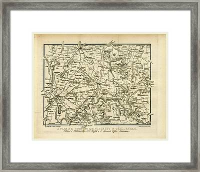 Map, Griffiths New Historical Description Of Cheltenham Framed Print by Litz Collection