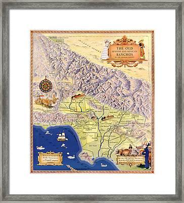 Map Los Angeles, C1937 Framed Print by Granger