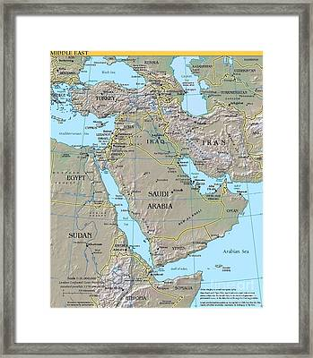 Map - Middle East Framed Print by Pg Reproductions