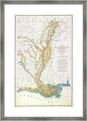 Map Mississippi River, 1861 Framed Print by Granger