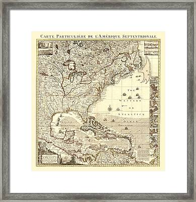 Map New World Framed Print by Gary Grayson