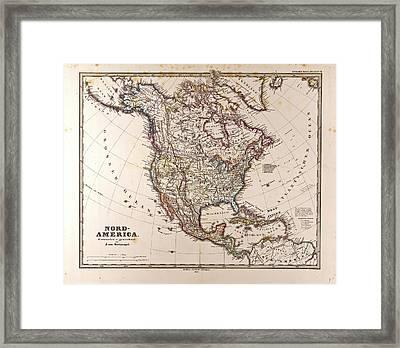 Map North America Gotha Justus Perthes 1872 Atlas Framed Print