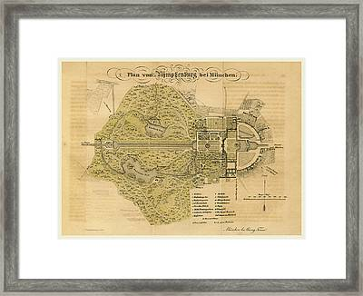 Map Nymphenburg Near Munchen Germany Framed Print by Litz Collection