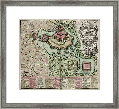 Map Of A Fortification On An Island Framed Print