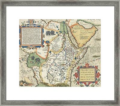Map Of Africa And The Arabian Peninsula Framed Print by Abraham Ortelius