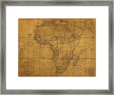 Map Of Africa Circa 1829 On Worn Canvas Framed Print by Design Turnpike