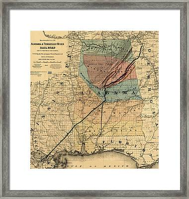 Map Of Alabama 1867 Framed Print by Andrew Fare