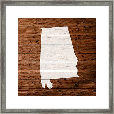 Map Of Alabama State Outline White Distressed Paint On Reclaimed Wood Planks. Framed Print by Design Turnpike