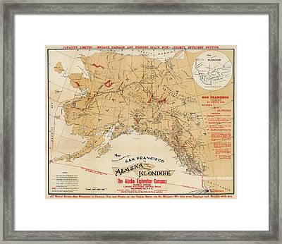 Map Of Alaska 1898 Framed Print by Andrew Fare