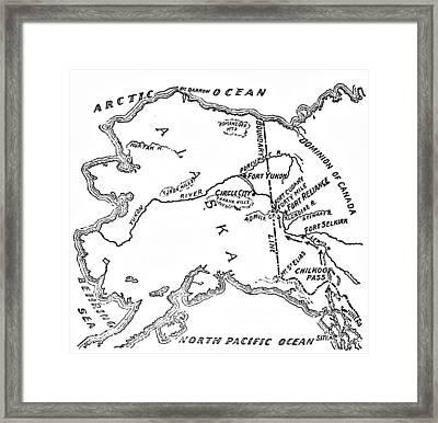 Map Of Alaskan And Yukon Gold Mines Framed Print