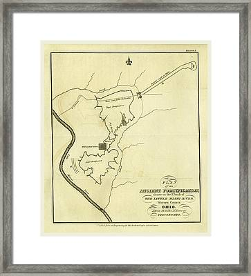 Map Of An Ancient Fortification On The Bank Of The Little Framed Print by Litz Collection