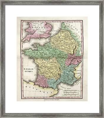 Map Of Ancient Gaul Framed Print