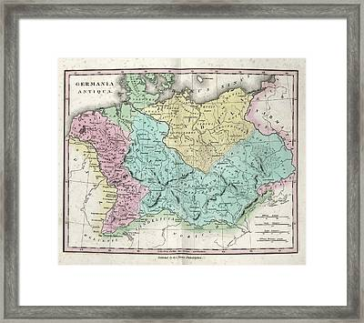 Map Of Ancient Germania Framed Print