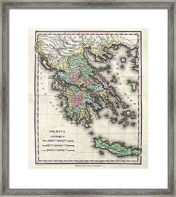 Map Of Ancient Greece Framed Print by Library Of Congress, Geography And Map Division