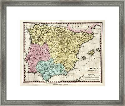 Map Of Ancient Hispania Framed Print