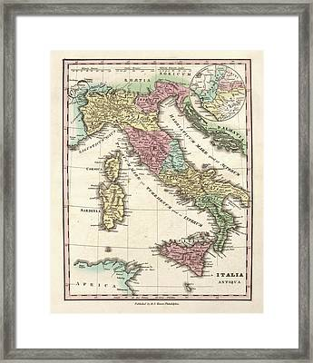 Map Of Ancient Italy Framed Print