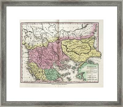 Map Of Ancient North Greece Framed Print