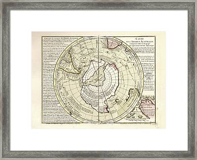 Map Of Antarctica Framed Print by Library Of Congress, Geography And Map Division