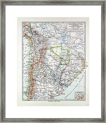 Map Of Argentinia Chile Bolivia Uruguay And Paraguay 1899 Framed Print by Chilean School