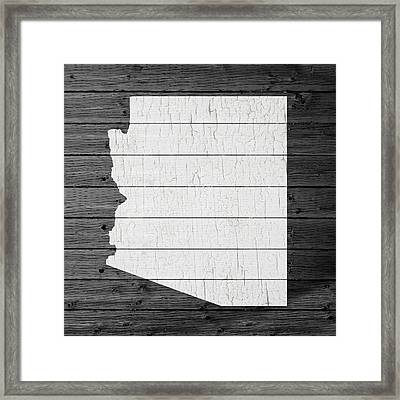 Map Of Arizona State Outline White Distressed Paint On Reclaimed Wood Planks Framed Print by Design Turnpike