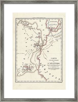 Map Of Atlantis Framed Print by Library Of Congress, Geography And Map Division