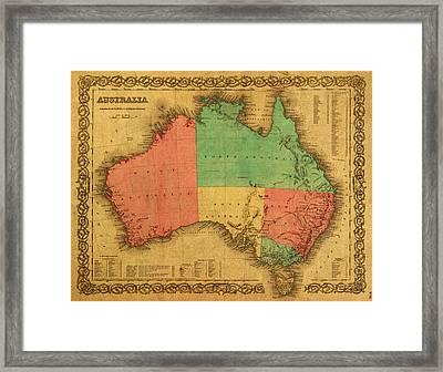 Map Of Australia Vintage 1855 On Worn Canvas Framed Print by Design Turnpike