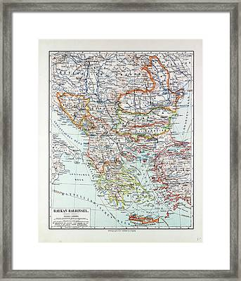 Map Of Austria-hungary Greece Serbia Bosnia And Herzegovina Framed Print by Austrian School