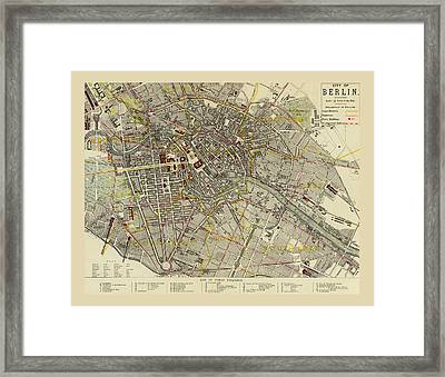 Map Of Berlin 1883 Framed Print by Andrew Fare
