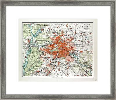 Map Of Berlin And The Surrounding Area Germany 1899 Framed Print