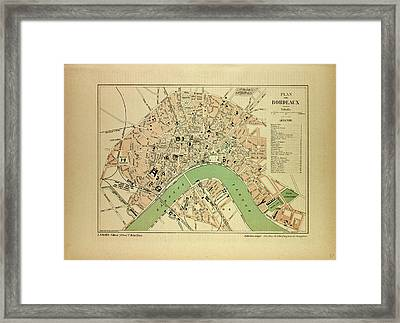 Map Of Bordeaux France Framed Print by French School